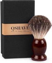 Qshave  luxe scheerkwast gemaakt van 100% hout en komt inclusief een giftset- mannen