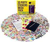 Mega Puffy Sticker Pakket   950+ Leuke 3D Puffy Stickers   40 VELLETJES   Jongens & Meisjes   TOPKWALITEIT   Voor Kinderen, Kleuters, School, Leraren   Bevat dieren, smileys, hartjes &  heel veel meer!  Leuk voor sinterklaas en kerst!