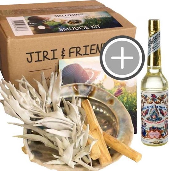 LUXE Reinig je huis pakket ORIGINAL Jiri & Friends Smudge Kit Smudgekit Witte salie Palo Santo abalone schelp | small FLORIDA WATER Agua de Florida Peru