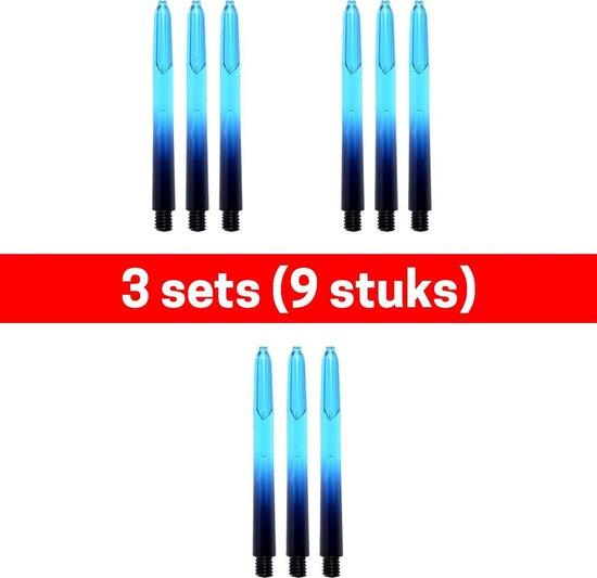 Dragon darts - Vignette – 3 sets (9 stuks) - darts shafts - zwart-aqua - med – dart shafts