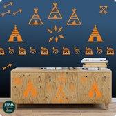Vrolijke wigwam met indiaan muurstickers kleur Oranje (19)