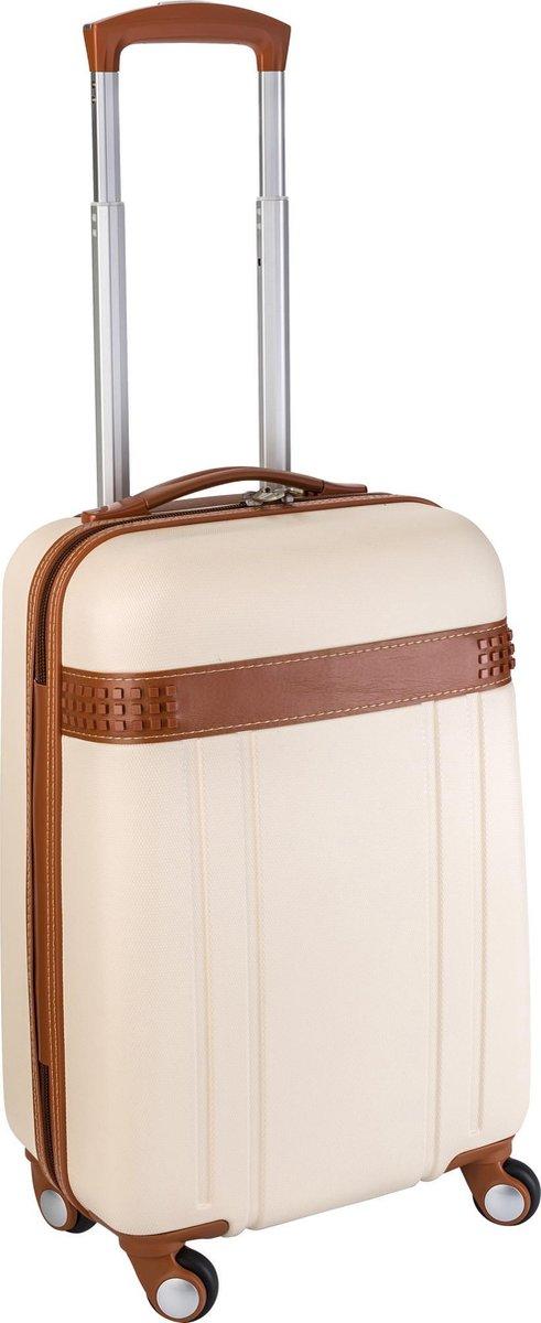 Trolley Handbagage koffer Crème met bruine accenten, exclusieve uitstraling. Met afsluitbare Rits &