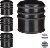 relaxdays 4 x deurstop - deurstopper - rubberen ring - deurbuffer zwaar – kunststof zwart