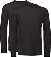 Senvi 2 pack T-Shirt Lange Mouwen Biologisch Katoen - Zwart - XL