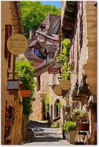 Doorkijkje in een Frans Dorp - Outdoor Schilderij op Canvas voor buiten