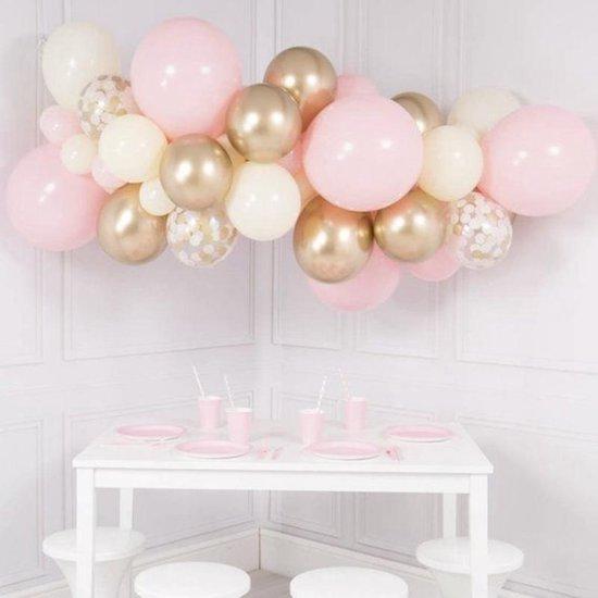 Luxe Ballonnen Boog Roze, Chrome Goud & Wit - 41 Stuks – Confetti HeliumBallonnen -Party Decoratie Thema Feest Ballonnenboog