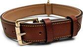 Brute Strength - Luxe leren halsband hond - Bruin - XL - 71 x 3,5 cm - leren hals band
