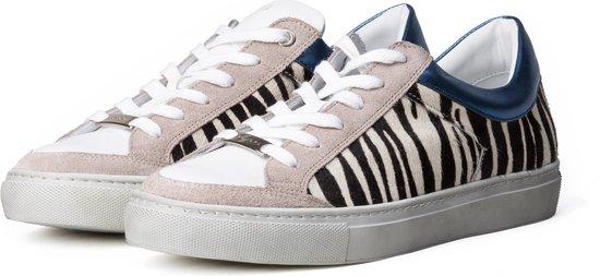 KUNOKA ALEX 1.1E Zebra Blue - Sneakers Dames - maat 38 - Wit Zwart Zebra print