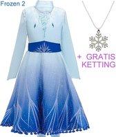 Frozen 2 Elsa jurk ster Deluxe 116-122 (120) + GRATIS ketting Prinsessen jurk verkleedkleding