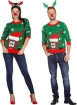 Groene kerst trui met rendier voor volwassenen 52 (L)
