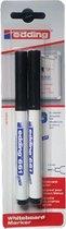 Edding 661 Whiteboard Markers (Uitwisbaar) - Zwart -  2 stuks