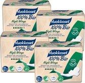 Vuokkoset maandverband night wings 100% bio - 4 x 9 stuks  - nacht vleugels - biologisch - ecologisch - eco - voordeelverpakking