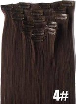 Synthetic Clip-In HairExtensions sets kleur 4 mediumbrown 140 gram