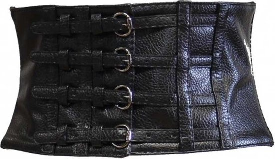 Zac's Alter Ego Taille riem Leather effect with 4 buckles Zwart