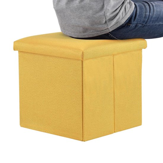 Opvouwbare opberg poef - stof - maat L - geel - en.casa