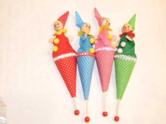 Afbeelding van het spel stokpopje clown set van 4
