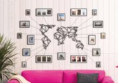 Hoagard Wanddecoratie - Wereldkaart XL  - Metaal - Zwart - 80x140cm