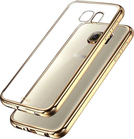 Samsung Galaxy S6 Edge - Siliconen Gouden Bumper Electro Plating met Transparante TPU Hoesje (Gold Silicone Hoesje / Cover)