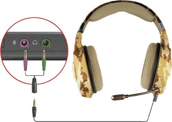 Trust GXT 322 Carus - Gaming Headset voor PS4 en PC - Desert Camouflage