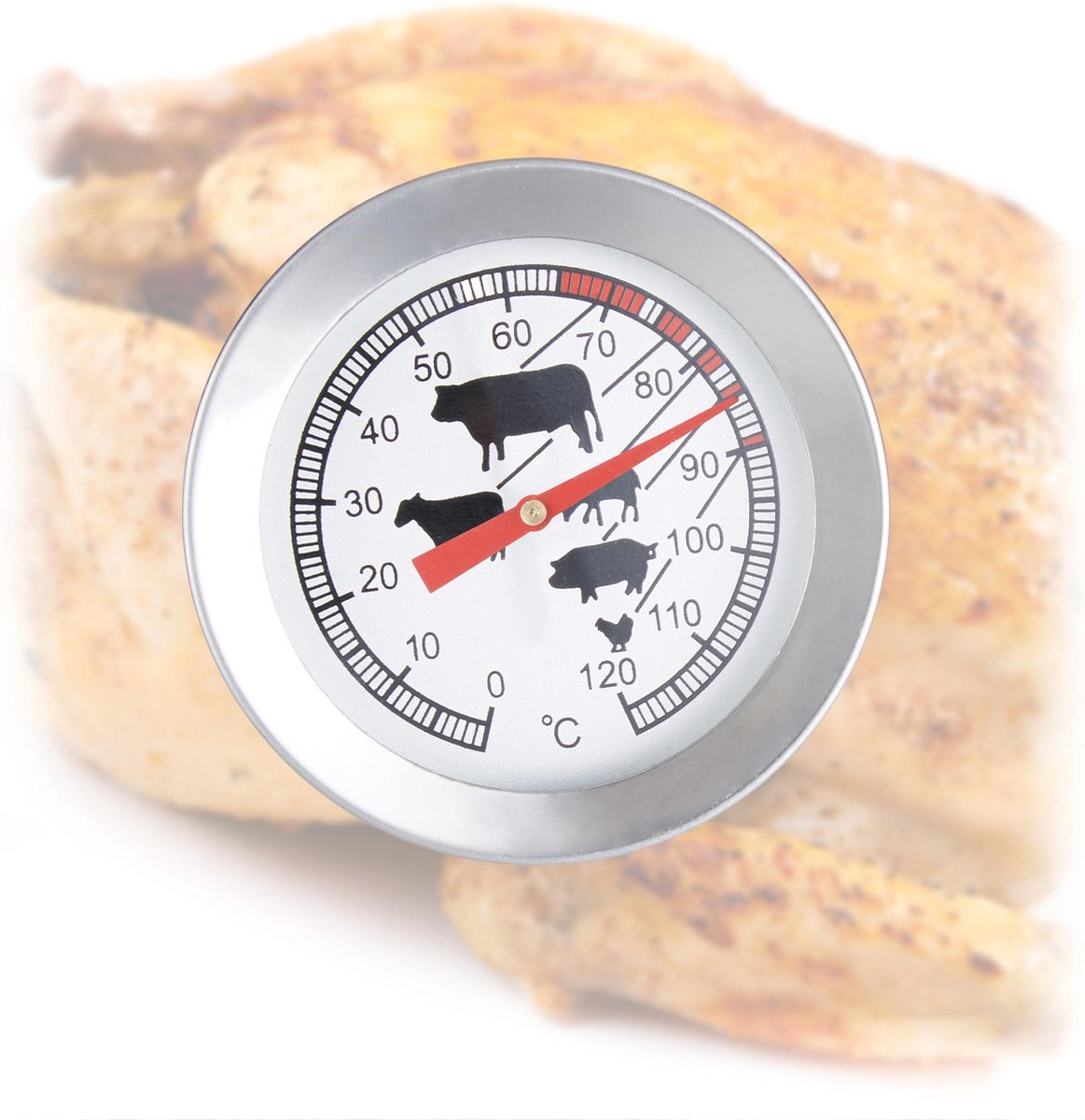 relaxdays vleesthermometer analoog - bbq thermometer rvs - braadthermometer 20 cm barbecue