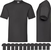 12 pack Zwarte shirts Fruit of the Loom ronde hals maat M Valueweight
