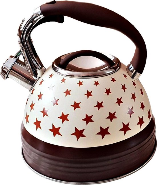 EDENBERG EB-1962 Whistling kettle - 3.0 liter - original stainless steel whistling kettle - brown