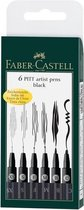 Faber-Castell - 6 pitt Artist Pen, brush - Black (167116)