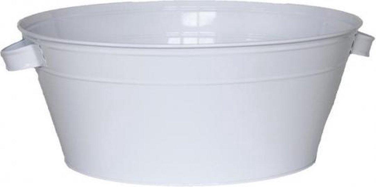 Ronde witte teil 13 liter - wasteil / plantenbak / drankemmer - Bellatio