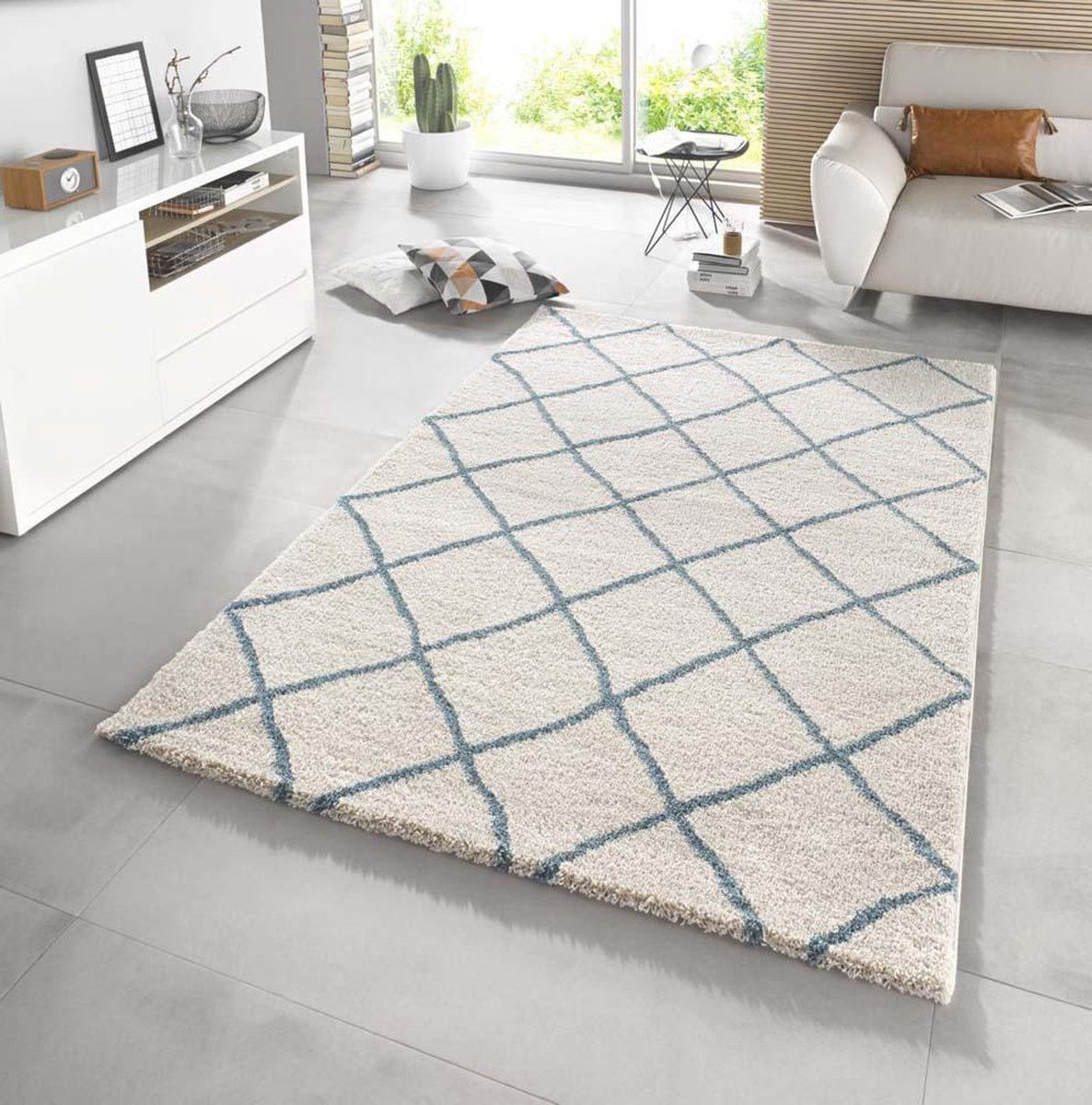 Hoogpolig vloerkleed - Rana Lines creme/blauw 80x150cm - Mint rugs