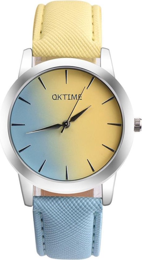 Fako® – Horloge – Duo Tone – Geel/Lichtblauw