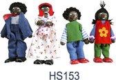 Charl's Toys - Houten Buigpoppenset Familie  met Baby - 4 Delig