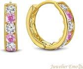 Juwelier Emo - 14 Karaat Gouden Kinderoorbellen meisje met Roze Zirkonia stenen - KIDS - 11 mm