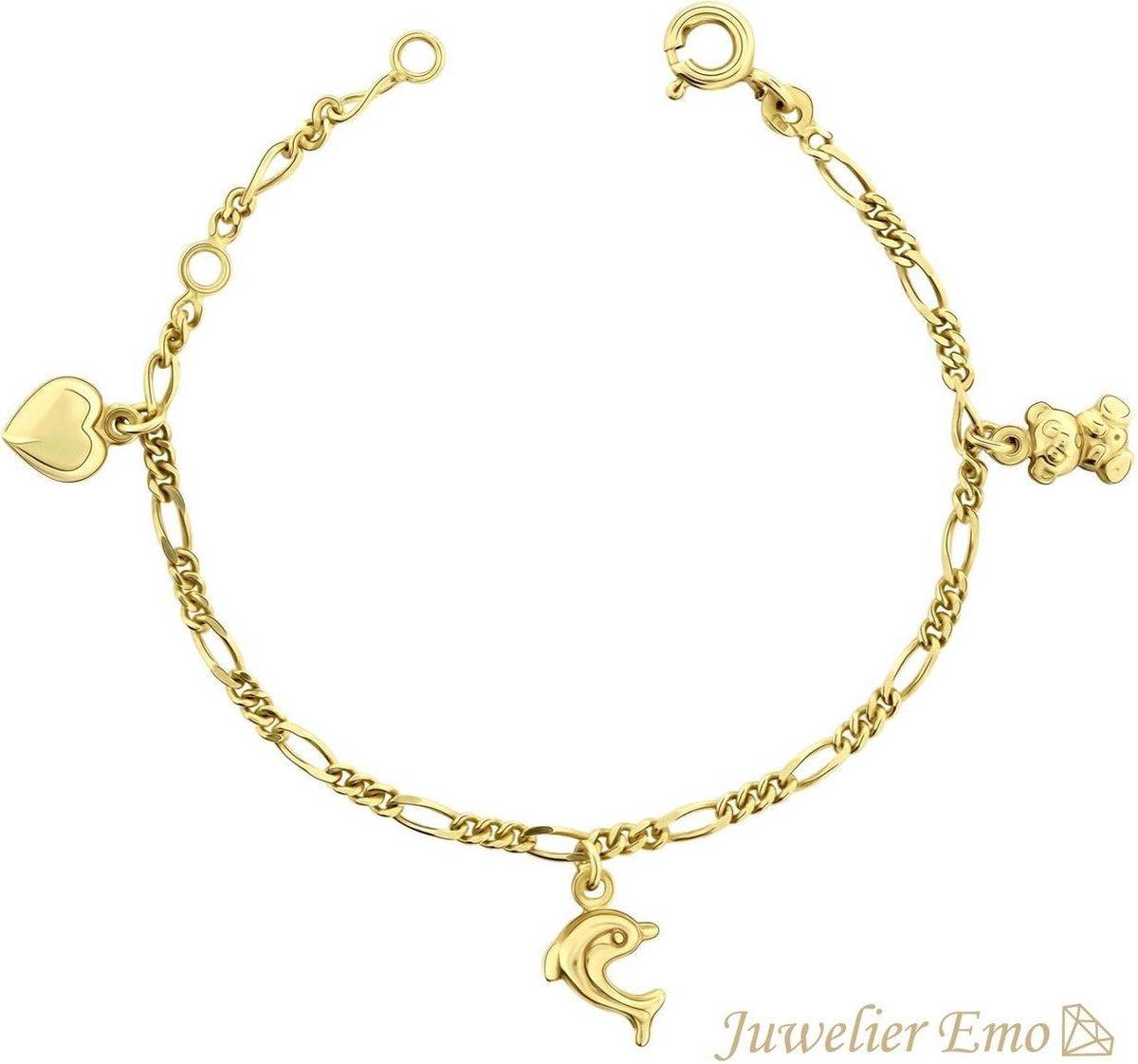 14 Karaat Kinderarmband Goud Hart, Vlinder & Dolfijn bedels