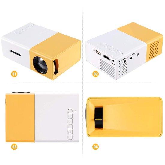 Dieux® - Mini Beamer Geel/Wit - Projector - Inclusief HDMI kabel - Afstandbediening – Draagbaar