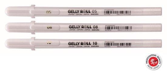 Afbeelding van Sakura - Gelly roll pennen - Fijn, Medium, Bold - Wit - 3stuks