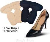 2 paar zelfklevende siliconen hielbeschermers - inlegzolen voor hoge hakken of schoenen - zachte en flexibele kussentjes - voorkomt blaren en pijn - combinatie van beige en zwart - one size - Heble