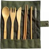 Bamboe bestek - 8-delige set - Groen - 1 persoons