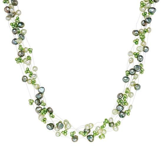 Valero Pearls Parel ketting Sterling zilver Gekweekte zoetwaterparels groen