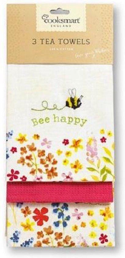 Cooksmart Theedoek (Per 3st.) Bee Happy