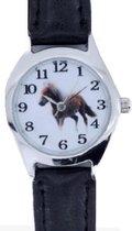 Horloge- Kinder- Paard - Zwart- 28 mm- Leer bandje-Gratis batterij