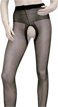 Cottelli Collection – Open Kruis Panty met Versterkte Taille Band voor een Sensuele Uitdaging – Maat L – Zwart