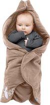 Wallaboo Babydeken Fleur - Handige wikkeldeken en wrapper - 100% zacht  katoen - past in een autostoel - 85 * 85 cm - Taupe