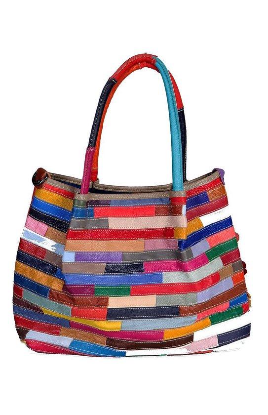 Viabologna schoudertas gekleurd leer model Rosalino - multicolour-
