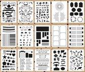 Mijn Bullet Journal Stencils 16 stuks + 1 BuJo Liniaal verpakt in een handige A5 Zipperbag