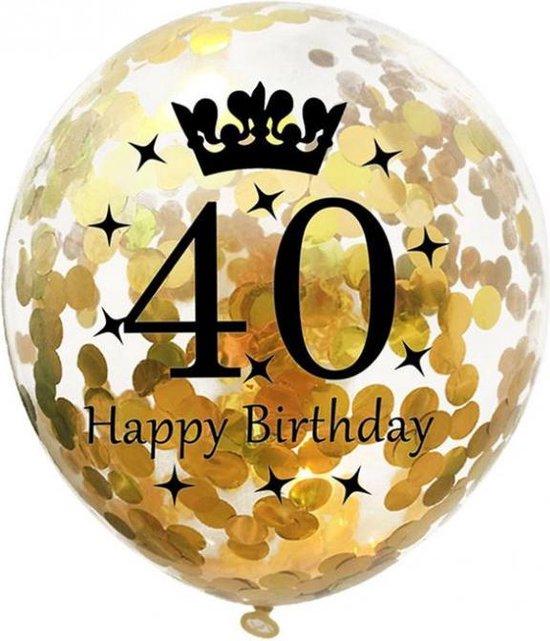 Confetti ballon - 31cm - 5 stuks - Goud - 40 jaar