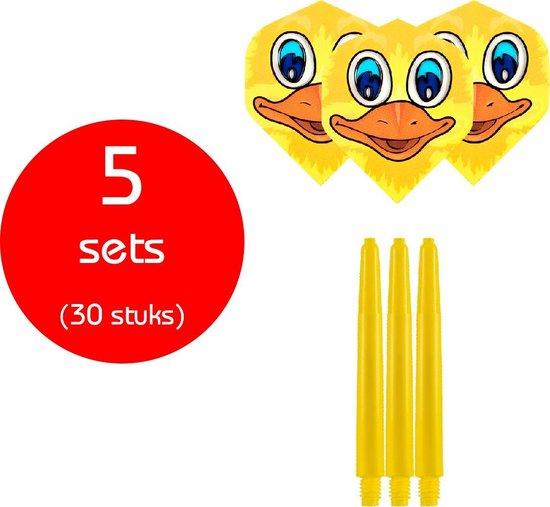 Dragon Darts - 5 sets (30 stuks) - medium - darts shafts - inclusief - ducky- darts flights - geel
