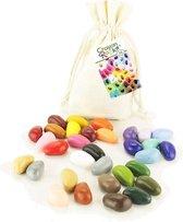 Crayon Rocks - ecologische niet giftige waskrijtjes, pengreep stimulerend - 32 kleuren in een katoenen zakje