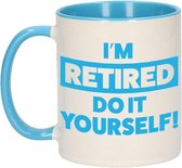 Pensioen kado mok / beker blauw - I'm retired do it yourself! - 300 ml - VUT