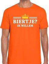 Oranje Biertje ik willem t-shirt heren - Oranje Koningsdag kleding