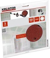 Kreator KRT232004 Schuurpapier rond – Ø225 mm – korrel: 60 – 5 stuks